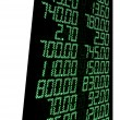 Stock Photo: Green stock numbers (prices), led panel