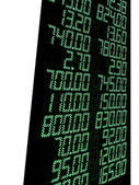 Green stock numbers (prices), led panel — Stock Photo