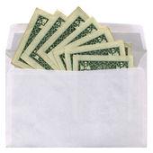 White envelope with dollars on white — Stock Photo