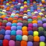 Colorful fabric turkish silk carpet — Stock Photo