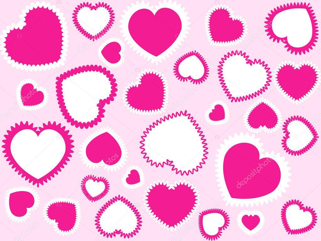 Rosa und weiße Herzen...
