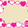 Pink hearts on beige frame — Stock Vector