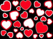 Red hearts background — Stock Vector