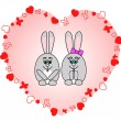 Rabbits in love — Stock Vector