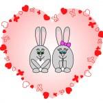 Rabbits in love — Stock Vector
