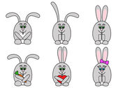Rabbits set — Stock Vector