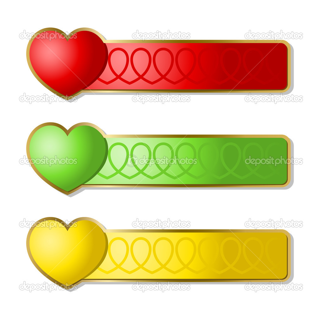 Multi-coloured banners with icons of hearts. A vector illustration. — Stock Vector #1869268