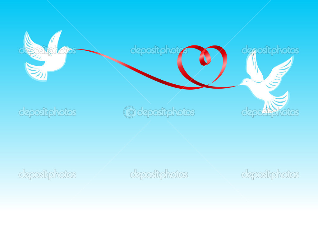 Pigeons, держашие the red ribbon bent in the form of a heart — Imagen vectorial #1912412