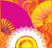 Three stylised fans with patterns on a basis floral motives. vector. illustration — Stock Vector