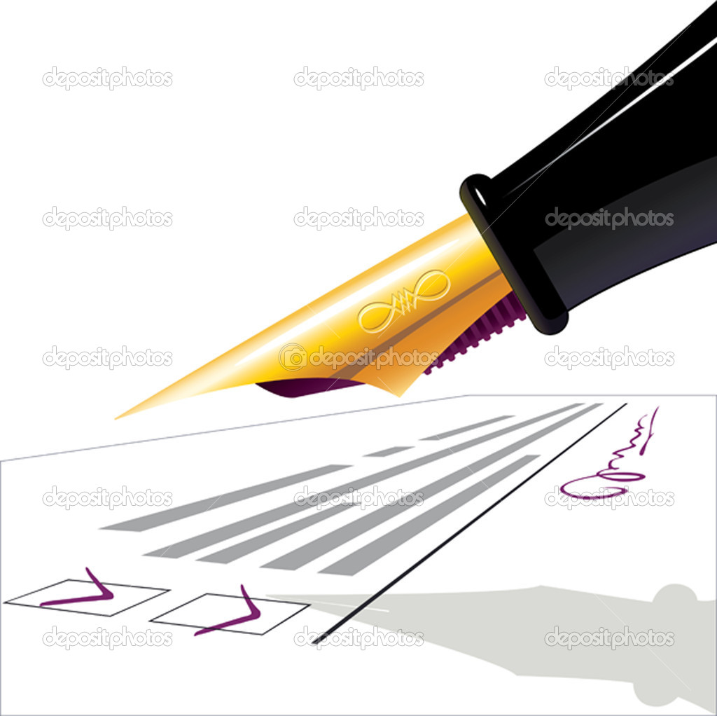 Pen. The filled questionnaire with the signature. illustration — Stock Vector #2449736