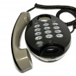 Black telephone on white background — Stock Photo
