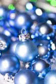 Blue glass Christmas balls — Stock Photo