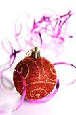 Christmas balls. Focus on first ball. — Stock Photo
