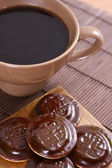 Sweet cookies with coffee — Stock Photo