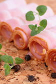 Tasty meat bacon fresh food isolated — Stock Photo