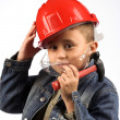 Boy in a red helmet — Stock Photo