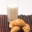 Stock Photo: Milk and croissants