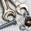 Wrench,nut and bolt - Stockfoto