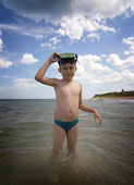 Boy with scuba mask — Stock Photo
