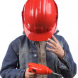 Boy in a red helmet — Stock Photo