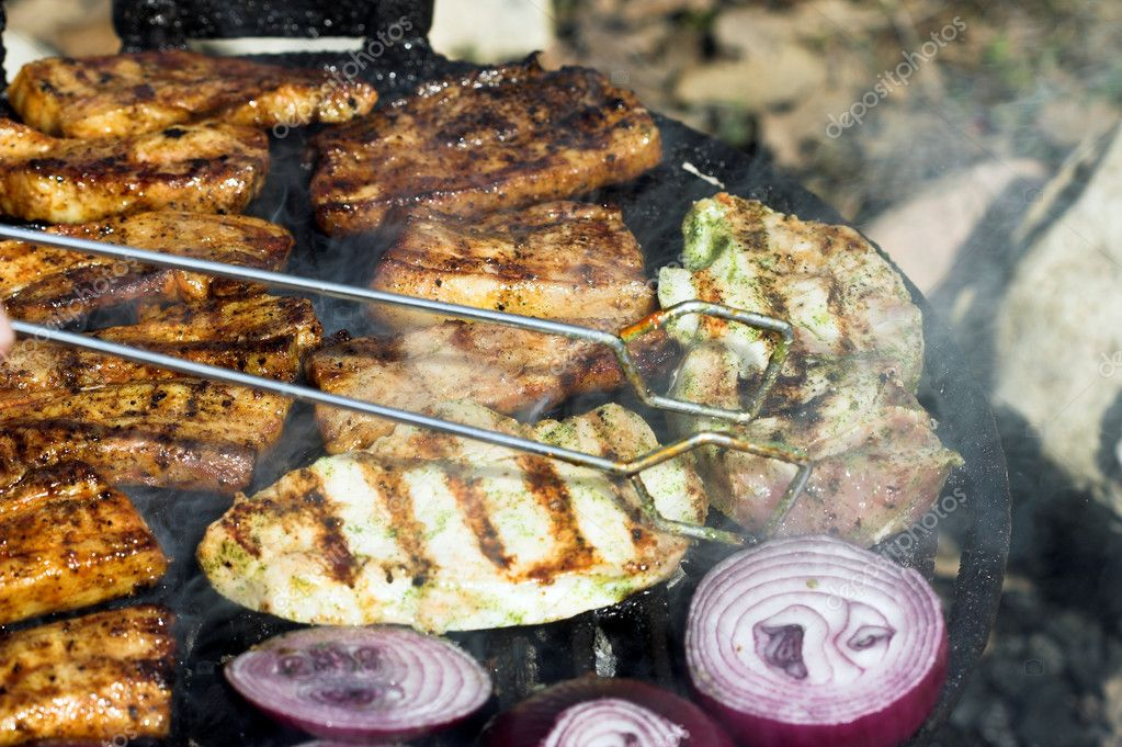 Close up of grilled meat,outdoor — Stock Photo #2675020
