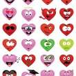 Heart-shaped emoticons - Stock Vector