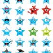 Star-shaped emoticons - Stock Vector