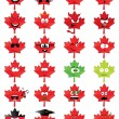 Stock Vector: Maple-leaf-shaped emoticons