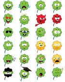 Clover-shaped emoticons — Stock Vector