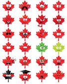 Maple-leaf-shaped emoticons — Stock Vector