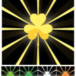 Shamrock and sunburst — Stock Vector