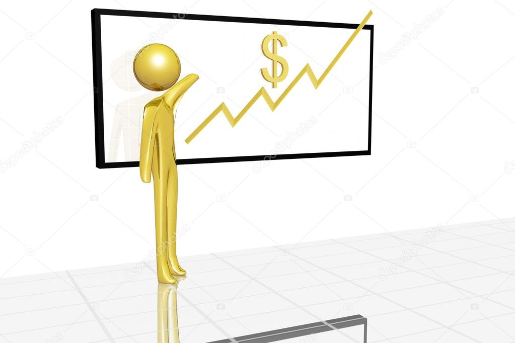 Golden character showing raise of dollar value. — Stock Photo #1920499