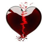 Heart black broken isolated on white — Stock Photo