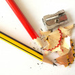 Stock Photo: Pencils and sharpener.