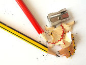 Pencils and a sharpener. — Stock Photo