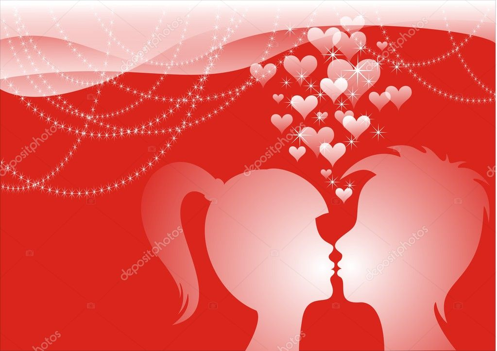 Postcard or background Initiation Valentine's Day. Girls and a boy kissing and they shine with love. — Stock Photo #2104085