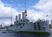 Battleship in St Petersburg — Stock Photo