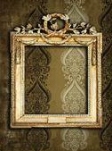 Gold frames, retro wallpaper — Stock Photo