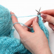 Knitting a pullover — Stock Photo