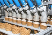 Preparation of ice-cream on factory — Stock Photo