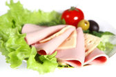 Sliced food arrangement — Stock Photo