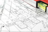 House plans with folding rule — Stock Photo