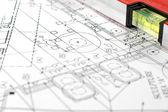 Huis plannen met vouwbaar regel — Stockfoto
