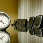 Clock in the empty board room — Stock Photo