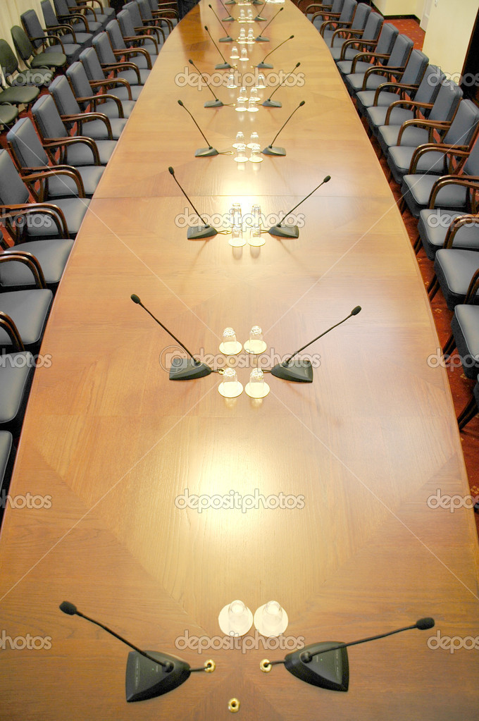 Microphones in the empty conference hall, business meeting details, business concept , wide angle shot — Stock Photo #1978467