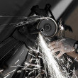 Angle grinder in use — Stock Photo