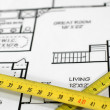 Stock Photo: House plans with folding rule