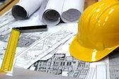 Domácí architektonické plány — Stock fotografie