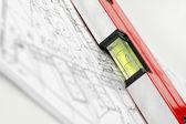 房子计划与折叠的规则 — 图库照片