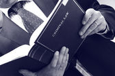 Lawyer holding criminal law book — Stock fotografie